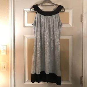 Size 6 Shiny Silver A-Line with Black Shiny Edges